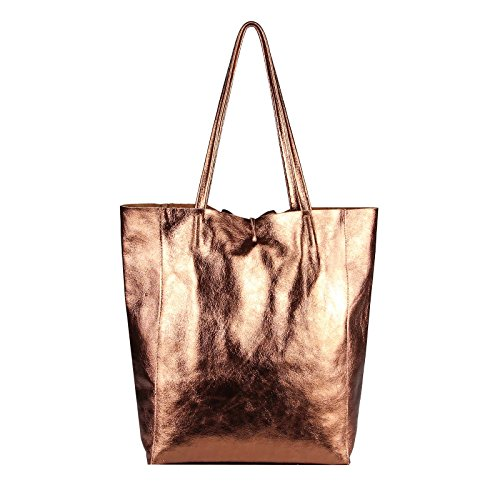 OBC Made in Italy DAMEN LEDER TASACHE DIN-A4 Shopper Schultertasche Henkeltasche Tote Bag Metallic Handtasche Umhängetasche Beuteltasche (Schwarz 36x40x12 cm) Bronze-Metallic