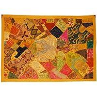 Linens funda en la parte superior del diseño indio tapiz decorativo con cinta Zari, bordado