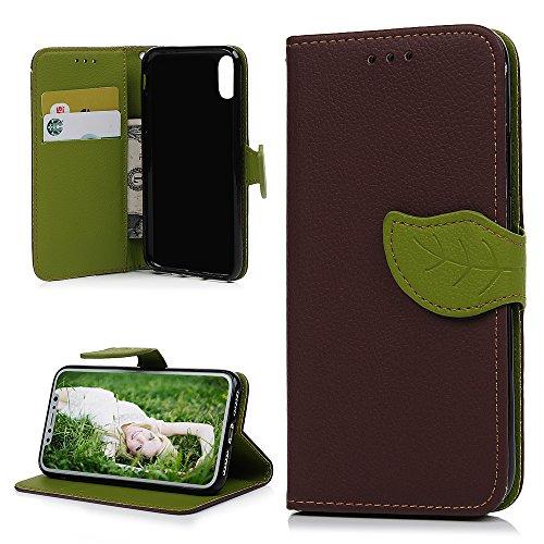 MAXFE.CO Schutzhülle Tasche Case für iPhone X PU Leder Flip Tasche Cover mit Blätter im Ständer Book Case / Kartenfach Rose Rot Kaffeebraun