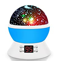 Night Light Projector Lamp, SCOPOW Rotating Star Projector with Timer Auto-off USB Battery Powered Home Decoration Lamp Gift for Kids Boys Girls (blue)