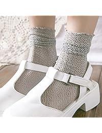 Calcetines de encaje para mujer con calcetines de colores sólidos ...