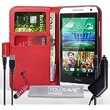 Yousave Accessories Coque HTC Desire 610 Etui Rouge PU Cuir Portefeuille Housse Avec Mini Stylet, Chargeur De Voiture Et Chargement Micro USB