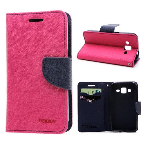Cubezap Mercury Goospery Fancy Diary Card Wallet Flip Case Back Cover for HTC Desire 620 620G - Pink Blue