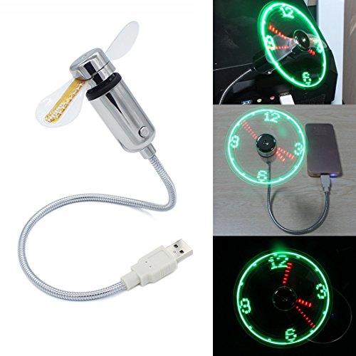 Simuer - Ventilador de reloj USB con función de visualización en tiempo real y mini ventilador flexible para ordenador portátil o de sobremesa