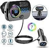 isincer Trasmettitore FM Bluetooth 5.0 per Auto, 7 Colori Controluce con Due Porta USB (QC 3.0 e 2.4A) Radio Bluetooth Auto Supporta Scheda TF, AUX e Chiamate Vivavoce