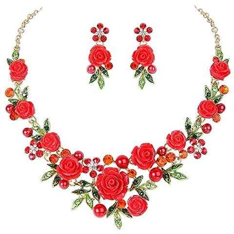 EVER FAITH® Ton d'Or Cristal Perle Artificielle Romantic Rouge Rose Fleur Feuille Collier Boucle d'Oreilles Parures N07745-6