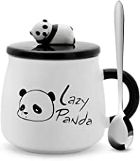 Satyam Kraft (Pack of 1) Panda Ceramic Mug with Ceramic Lid and Spoon-300 ML