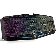 VicTsing Regenbogen Beleuchtete Büro Gaming tastatur, 14 unabhängigen Multimedia-Tasten mit Anti-ghosting Keyboard, 104 QWERTZ USB Ergonomisch Wasserdichtes Tastatur - Schwarz