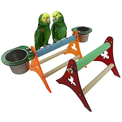 Yueunishi Parrot Acrylic Stands, Parrot Cage Stands, Bird Stands, Bird Table Stands, Bird Squirrel Cage Stands with Stainless Steel Food Bowl Containers 2 Sizes (S) 1
