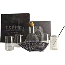 eKitch Mr. Hyde's Curious Concoctions Novelty Cocktail Kit, scientific cocktail kit | Glass cocktail shaker, glass stirring rod, cocktail recipe cards | Dr Jekyll and Mr. Hyde gift set