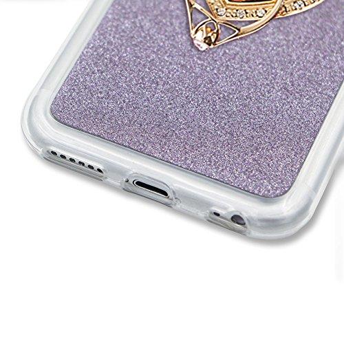 Für iPhone 7 4.7 Zoll Schrittweise Farbwechsel TPU Cover, Herzzer Bling Glitter Schutz Hülle mit Liebe Herzen Ring Halter, Luxus Sparkles Glänzend Glitzer Silikon Crystal Case Durchsichtig Soft Rückse Lila Ring Halter