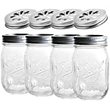 4 x Ball Mason Jar | Regular 16 oz (475 ml) + Blumendeckel | SET