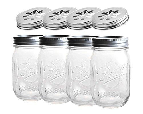 4 x Ball Mason Jar | Regular 16 oz (475 ml) + Blumendeckel | SET