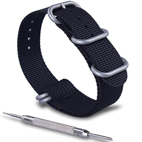 ZWOOS Nylonband Zulu-Uhrenarmband mit Edelstahl-Schnalle Uhrband Armband Band mit Federstegwerkzeug 20mm 22mm, schwarz und Armeegrün (Schwarz, 22mm)