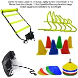 Foricx Heavy Quality Combo Of Flat Regular Adjustable Speed Agility Ladder (4M With 10 Rungs) | Pack Of 12 Marker Cones (6 Inch) For Soccer Cricket Track And Field | Saucer Cones Set Of (50) | Speed Drills Training Resistance Parachute Running Chute Power