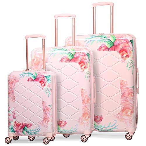 Aerolite Leichtgewicht Polykarbonat Hartschale 4 Rollen Gepäckset Reisegepäck Trolley Koffer, 3 teiliges Set, 55cm Handgepäck + 69cm + 79cm, Rosa Blumendesign