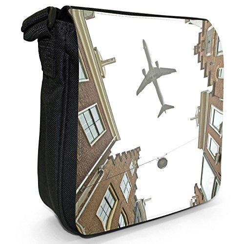 """Velivoli con motivo aeroplani di """"Planes"""", colore: nero, Borsa a tracolla in tela, taglia: S Nero (Flying High Over The Rooftops)"""