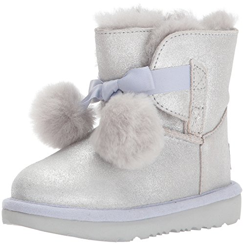UGG Girls T Gita Metallic Pull-On Boot, Silver, 12 M US Little Kid