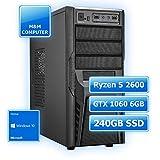 M&M Computer Multimedia Gamer PC AMD, AMD Ryzen 5 2600 CPU Six-Core, GTX1060 6GB Gaming Grafikkarte, 240GB SSD, 8GB DDR4 RAM 2666MHz, Windows10 Home