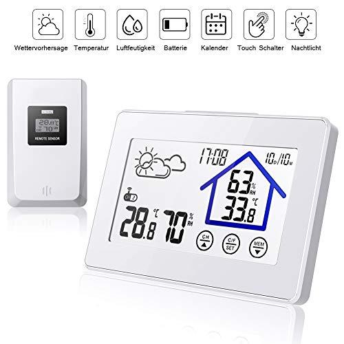 Wetterstation Funk mit Außensensor, Digital Thermometer-Hygrometer für Innen und außen, mit Wettervorhersage, Uhrzeitanzeige, Touchscreen und Nachtlicht