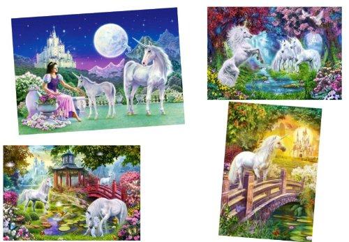 Unbekannt 4 Stück: Mini Puzzle / Minipuzzle 120 Teile - Einhörner / Pferde - für Kinder Kinderpuzzle Minipuzzles Einhorn mit Schloß Tiere Elfen
