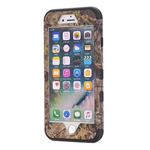 """iPhone 7 Coque,Lantier 3 en 1 Combo Camouflage Forest Design Résistance à la chute Résistance à la baisse Hard Defender Housse de protection en plastique pour iPhone 7 4.7"""" Violet Green Tree Black"""