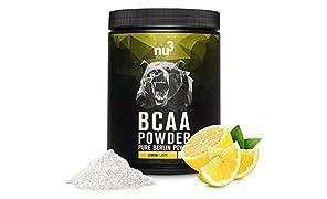 nu3 BCAA Powder Lemon | 400g BCAA-Pulver | fruchtiger Zitronen-Geschmack | mit optimalen Amino-Säuren-Verhältnis von 2:1:1 | für Bodybuilding & Ausdauersportler | Vegan