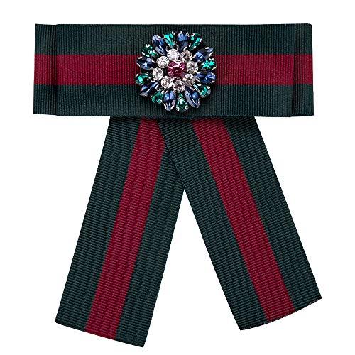 Wantschun Damen Schleifenbrosche Streifen Strass Perle Schmuckbrosche Bowknot Kleid Schleifen Blusen Brosche Design M: Rot+Grün -