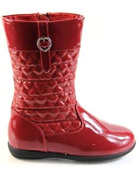 Las niñas Pippa acolchado piel sintética mitad de la pantorrilla con cremallera botas de invierno