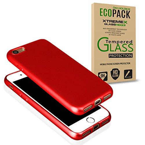 EGO Für iPhone 7 Luxury Case Slim Gold Matt Metallic Silikon Bumper Schale Schutzhülle Anti-Fingerabdruck satin Rückseite Rot + Glas