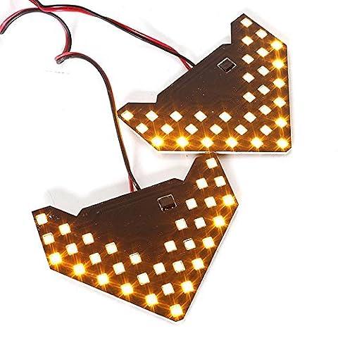 Gzcrdz 2pcs/lot. 33SMD Séquentielle flèches de lampes LED Lampe Témoin Sécurité LED Panneaux de voiture côté Miroir Tour Signal 33LED