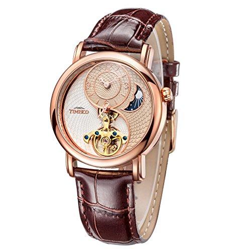 Time100 Tai Chi Armbanduhr Mondphasen mechanische Automatikuhr Echtleder