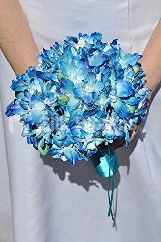 Modern Luxury Galaxy Blue Orchid Bridal Wedding Bouquet – top UK ...