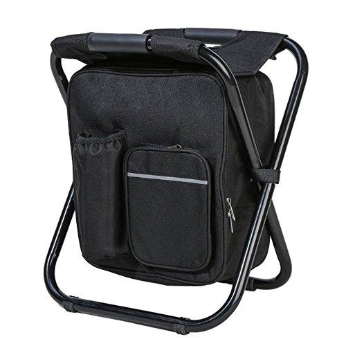 Campeggio zaino sedia da pieghevole portatile con borsa da picnic isolata mantieni fresco o caldo viaggi outing escursionismo pesca spiaggia bbq nero
