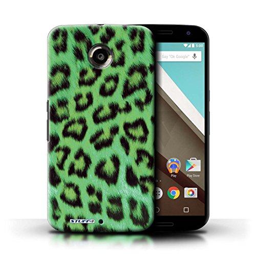 Kobalt® Imprimé Etui / Coque pour Motorola Nexus 6 / Rose conception / Série Peau de Léopard Animal Vert