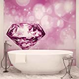 Diamant Rosa - Wallsticker Warehouse - Fototapete - Tapete - Fotomural - Mural Wandbild - (407WM) - XXXL - 416cm x 254cm - VLIES (EasyInstall) - 4 Pieces