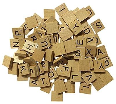 Liroyal Full de Scrabble en Lot de 100, artisanat, jeux de société, kit de fabrication de bijoux verni Carreaux