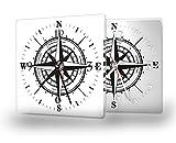 Kompass - Lautlose Wanduhr mit Fotodruck auf Polycarbonat | geräuschlos kein Ticken Fotouhr Bilderuhr Motivuhr Küchenuhr modern hochwertig Quarz | 30 cm x 30 cm mit schwarzen Zeigern - GERÄUSCHLOS