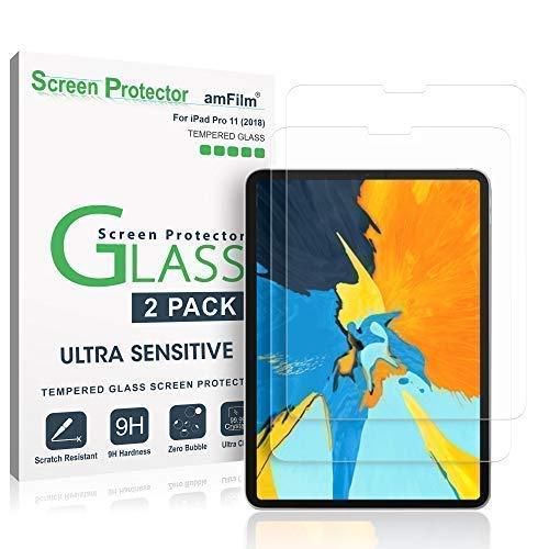 amFilm Panzerglas Displayschutzfolie für iPad Pro 11 (2 Stück), Abgerundete Ecken Panzerglas (Gehärtetem Glas) Schutzfolie für Apple iPad Pro 11 Zoll (2018)