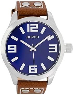 Oozoo Damenuhr mit Lederband 46 MM Blau/Rotbraun C1065