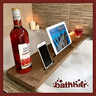 Add a PERSONALISED message Free of Charge!! Wooden Bath Caddy Bath Shelf Bath Bar To Hold Mobile Phone, Tablet, Wine Glass stained Westminster Oak by Bath Bar