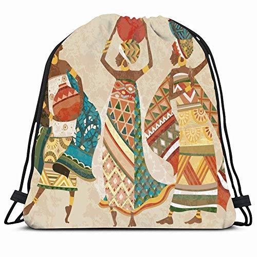 KAKALINQ Drawstring Backpack String Bag Cloak Dress Colorful Dreams Africa Dreamy Elegant Pattern People African Pottery Folk Kitenge Figure Woman Sport Gym Sackpack Hiking Yoga Travel Beach -