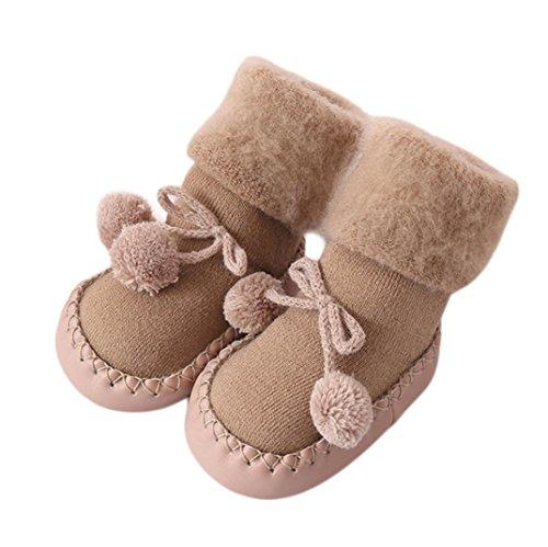 KanLin Baby Cotton Socks Children Floor Socks Anti-Slip Baby Step Socks (12-18 months, Khaki)