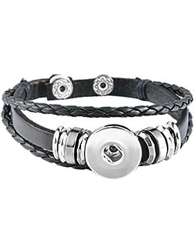 Souarts Damen Charm Armband Click Button Armkette PU Leder 21cm Schwarz