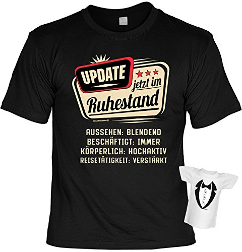 Rentner-Sprüche Tshirt lustiges Geschenk Ruhestand : Update Jetzt IM Ruhestand - Rentner-Shirt Motiv/Spruch Rente + Mini Flaschenshirt Gr: L