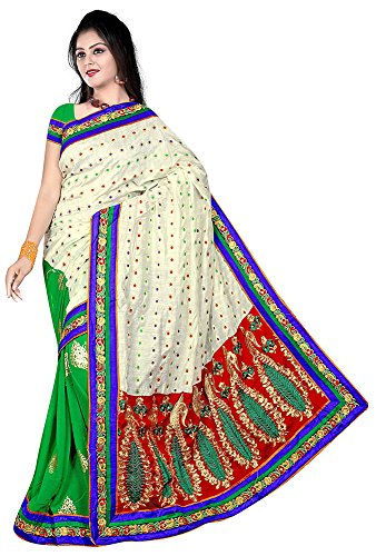 Raghavjee Sarees Women's Brocade & Georgette Saree (Green)