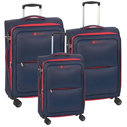 Trolley Set 3teilig MONACO Koffer Set 2Kg 2,7Kg 3,2Kg Reisekoffer Set Stoffkoffer Set 55 cm 68 cm 77 cm Farbwahl (Reisekoffer Set blau/rot)