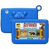 Qimaoo 7 Zoll Kinder Tablet, Android Tablet Kids Bilige Tablet PC 8G ROM+32G SD Speicherkarte Android 4.4 Quad Core 1.2 GHz mit Silikonhülle Kinder Geschenk Blau