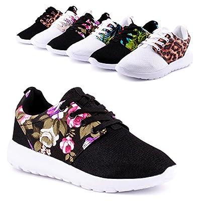 Damen Sneaker Sportschuhe Turnschuhe Blumen Print Laufschuhe Schuhe