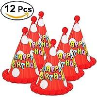 TOYMYTOY Compleanno festa cono Cappelli con pon pon per bambini 12pcs  (lettera colorato rosso) f690b4616152